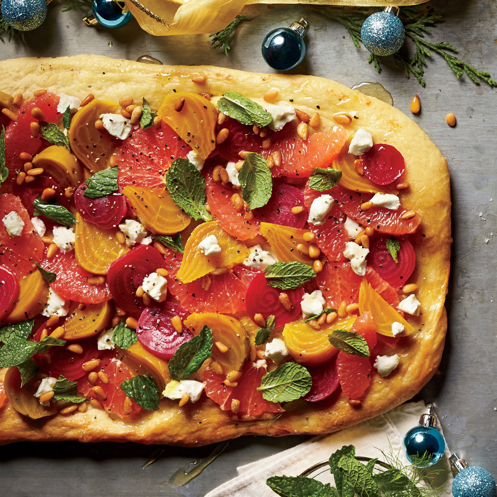 Grapefruit-Beet-Goat Cheese Flatbread