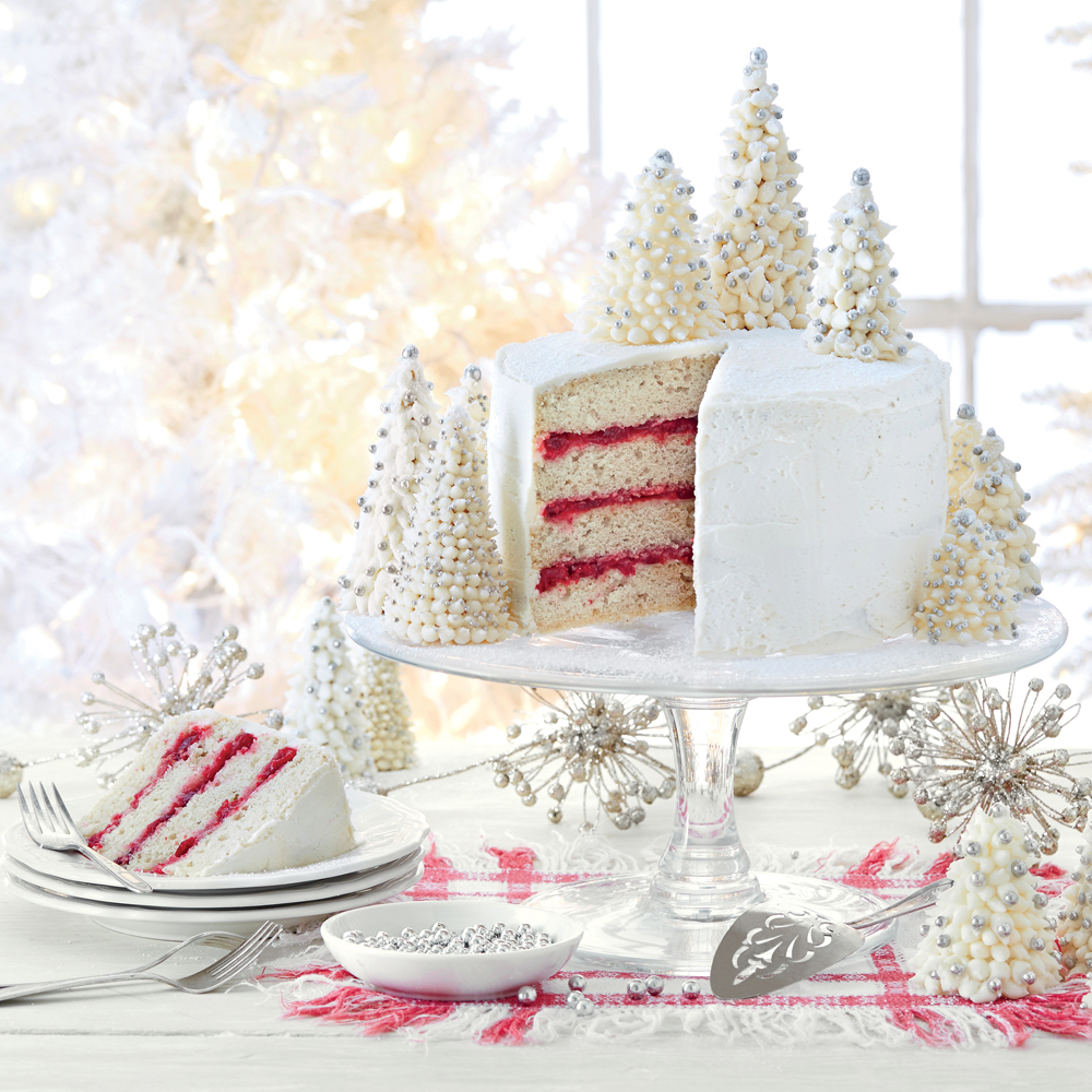 Spice Cake with Cranberry Filling RecipeThis stunning and festive cake makes a great centerpiece at the holiday dessert table. A great tip is to pipe a ring of frosting around each cake layer, just inside the top edge, to keep the cranberry filling from peeking out.