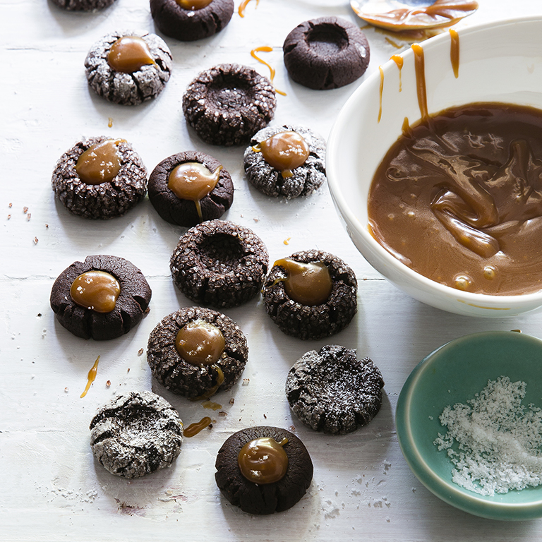 Chocolate Thumbprints with Caramel and Sea Salt