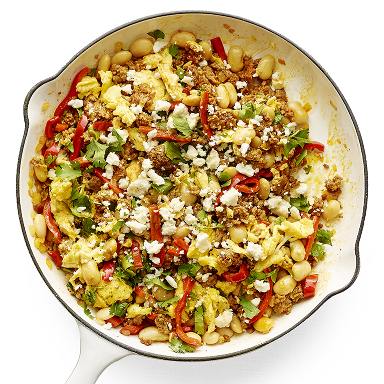 Spicy Chorizo and Lima-Bean Scramble