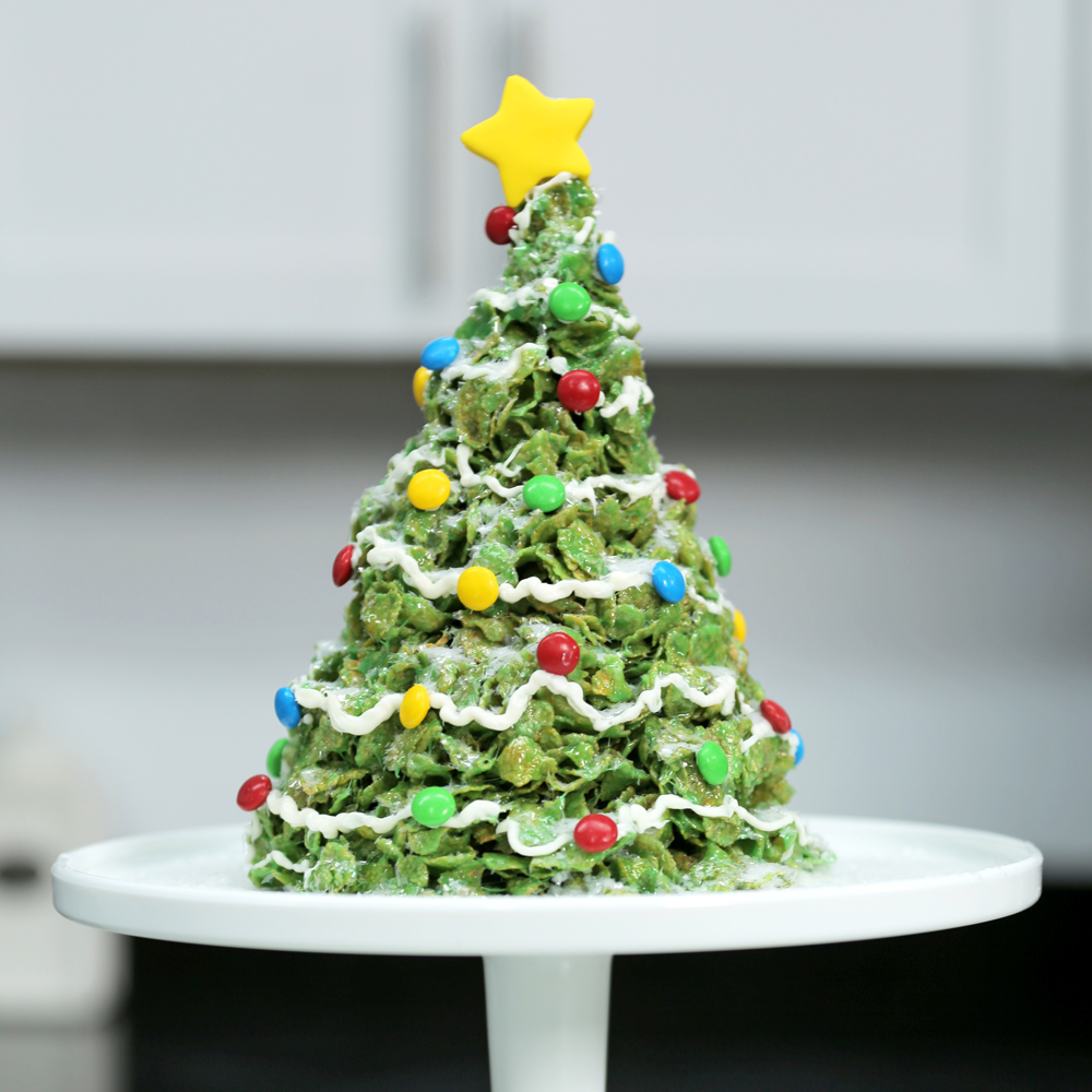 Marshmallow and Cornflakes Giant Christmas Tree Treats