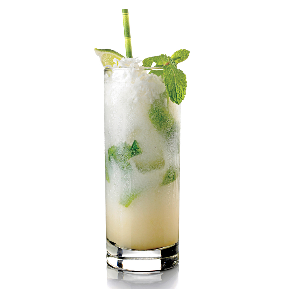 Coconut rum and coconut cream infuse this classic cocktail with tropical island flavors.Coconut Mojito