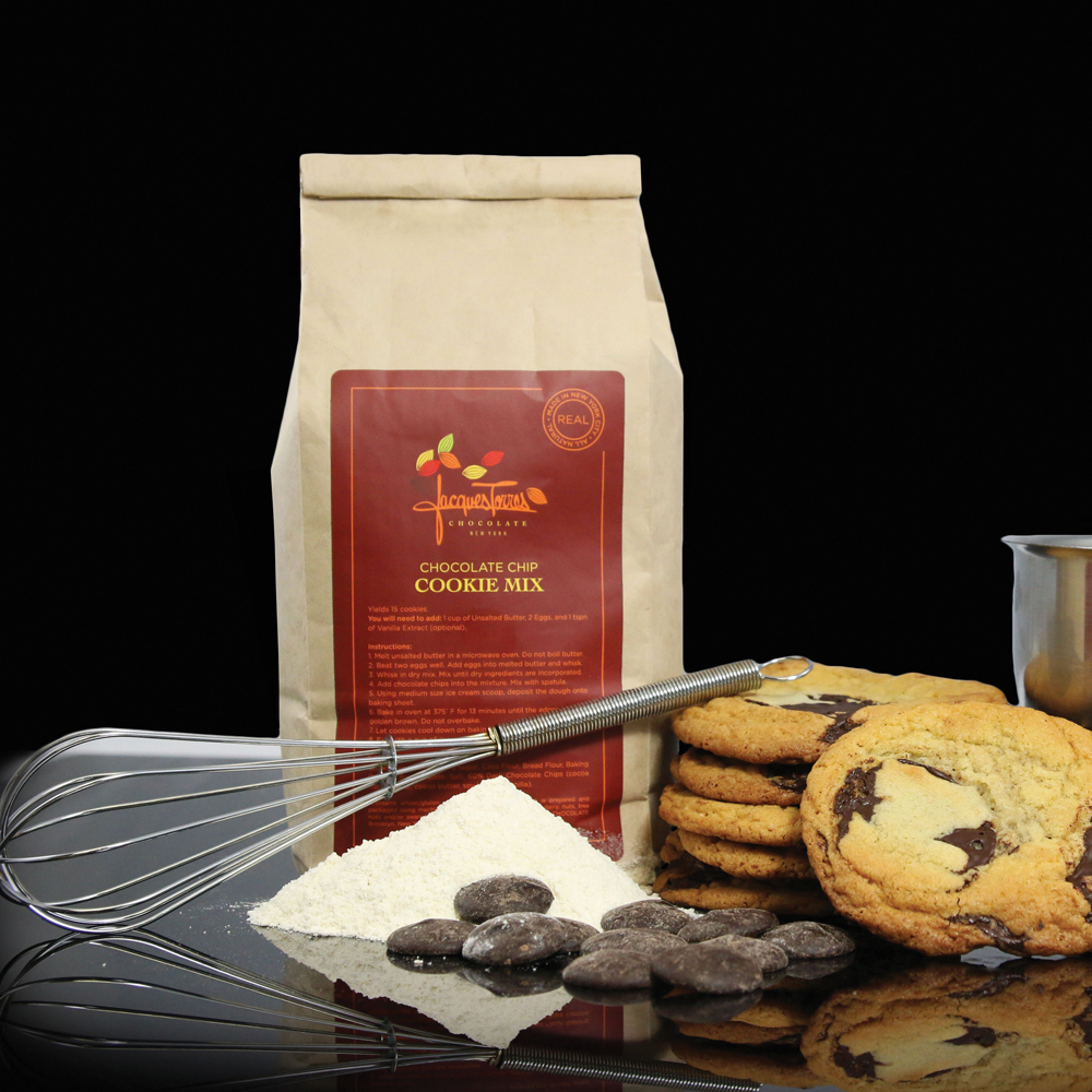 New YorkJacque Torres Chocolate takes pride in their real, authentic, chocolate and the use of the finest ingredients in the creation of each and every confection. With their expert help, you can whip up your own treats right at home with this decadent chocolate chip cookie mix.