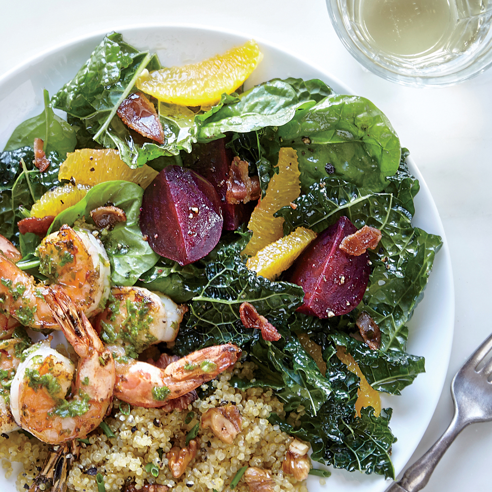 Kale and Spinach Salad with Beets and Roasted Garlic-Citrus Vinaigrette
