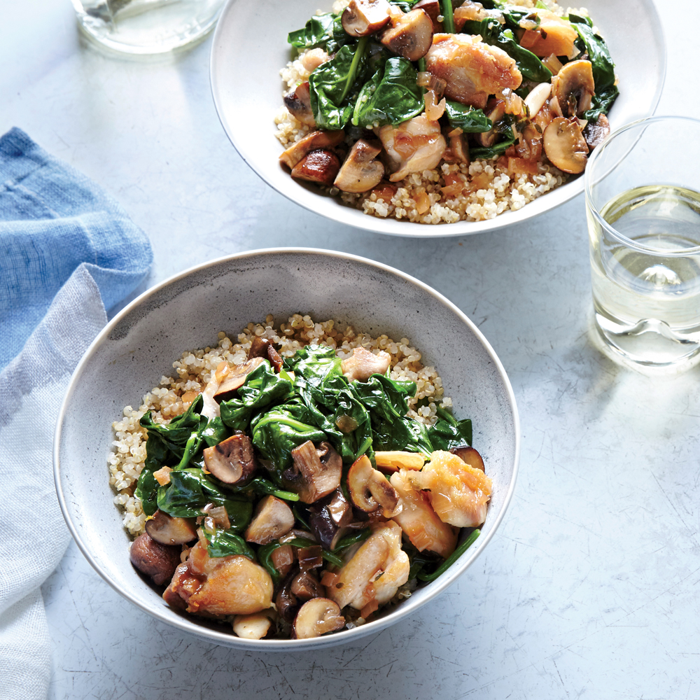Mushroom and Chicken Marsala Bowls                            RecipeRich chicken thighs are supremely satisfying when paired with lots of buttery browned mushrooms.