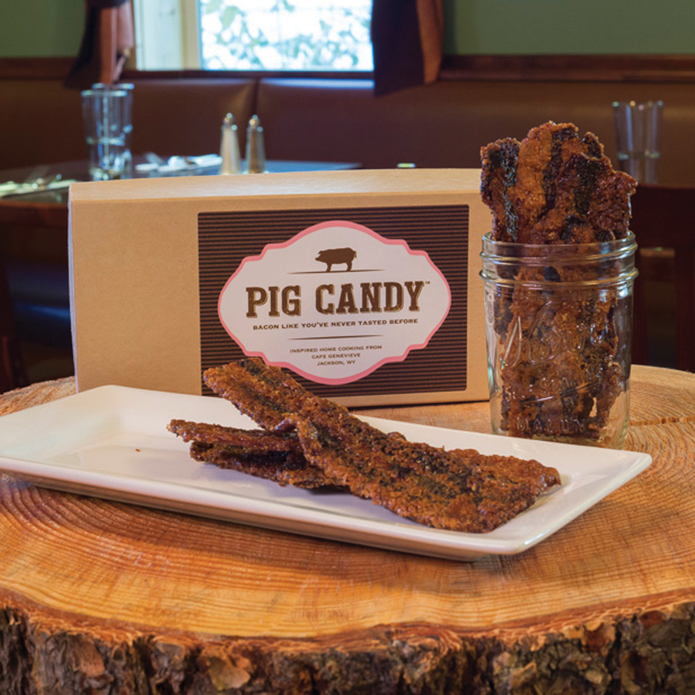 "WyomingNestled in the foothills of Jackson Hole, WY, Café Genevieve takes pride in Southern flair. Serving patrons from a cozy log cabin, one of their specialities is Pig Candy: ""Thick-sliced applewood smoked bacon coated with a blend of sugars and spices and baked low-and-slow for the perfect bite."" In other words, a savory treat like no other!"