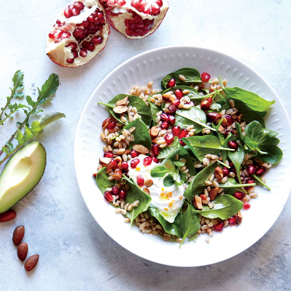 Pomegranate-Farro Breakfast Salad with Honey Ricotta