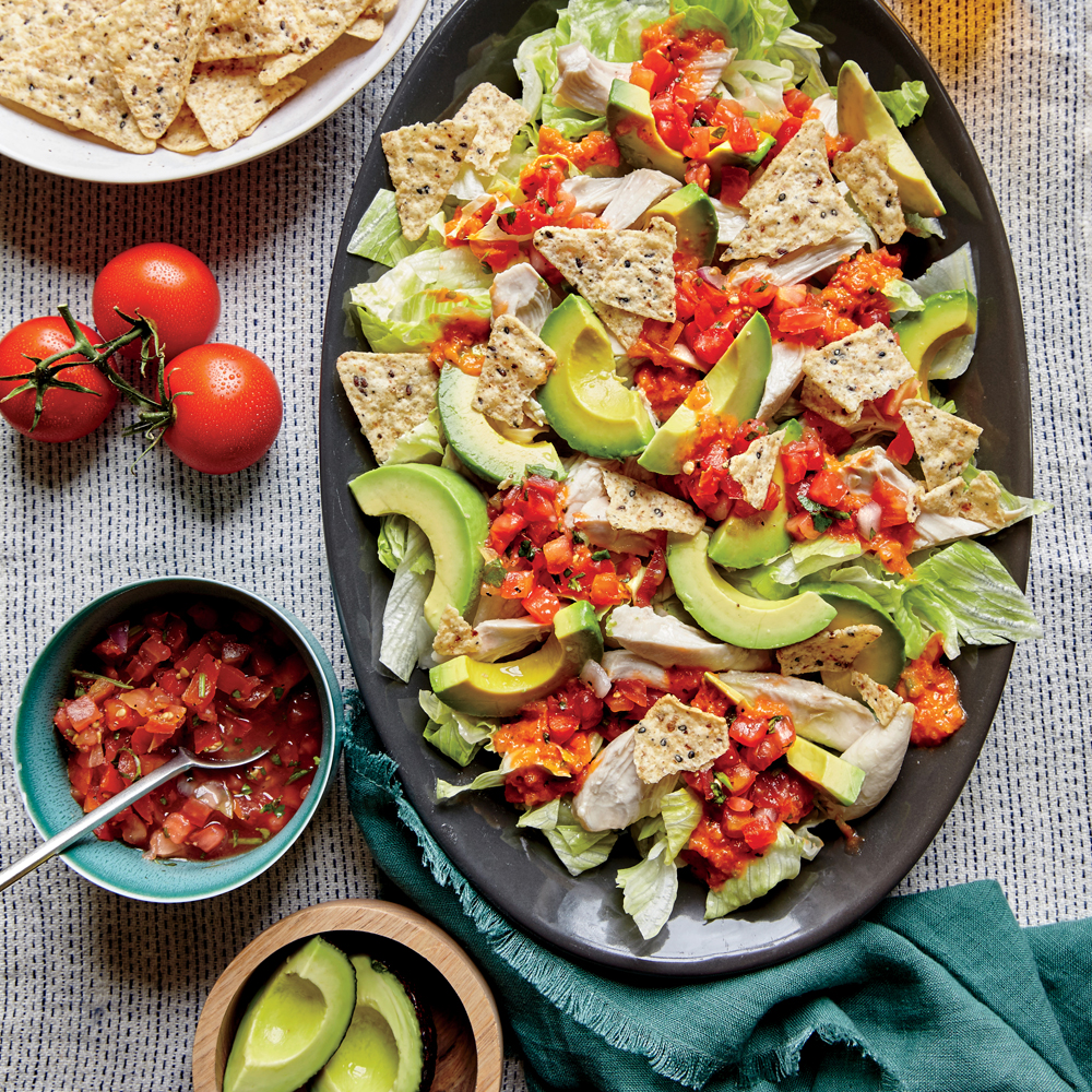 Shredded Chicken And Avocado Nacho Salad Recipe