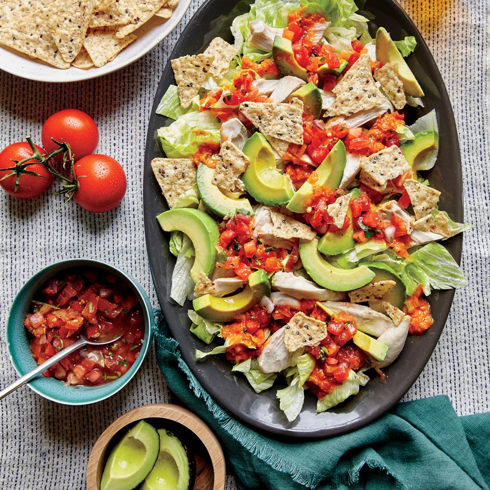 Shredded Chicken and Avocado Nacho Salad