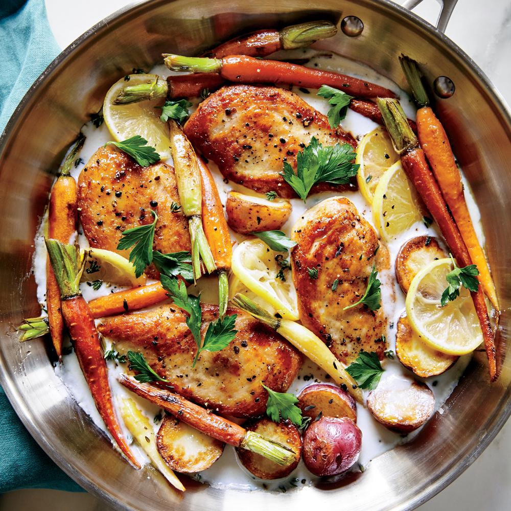 Skillet chicken with roasted potatoes carrots recipe myrecipes forumfinder Gallery