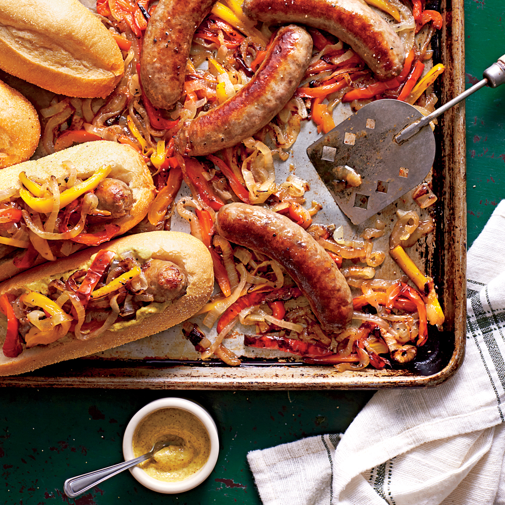 Bratwurst with Peppers and Onions, bratwurst recipes, sheetpan brats