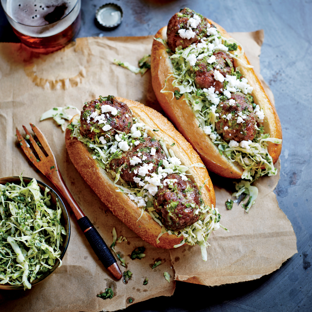 Chimichurri Beef Meatball Hoagies