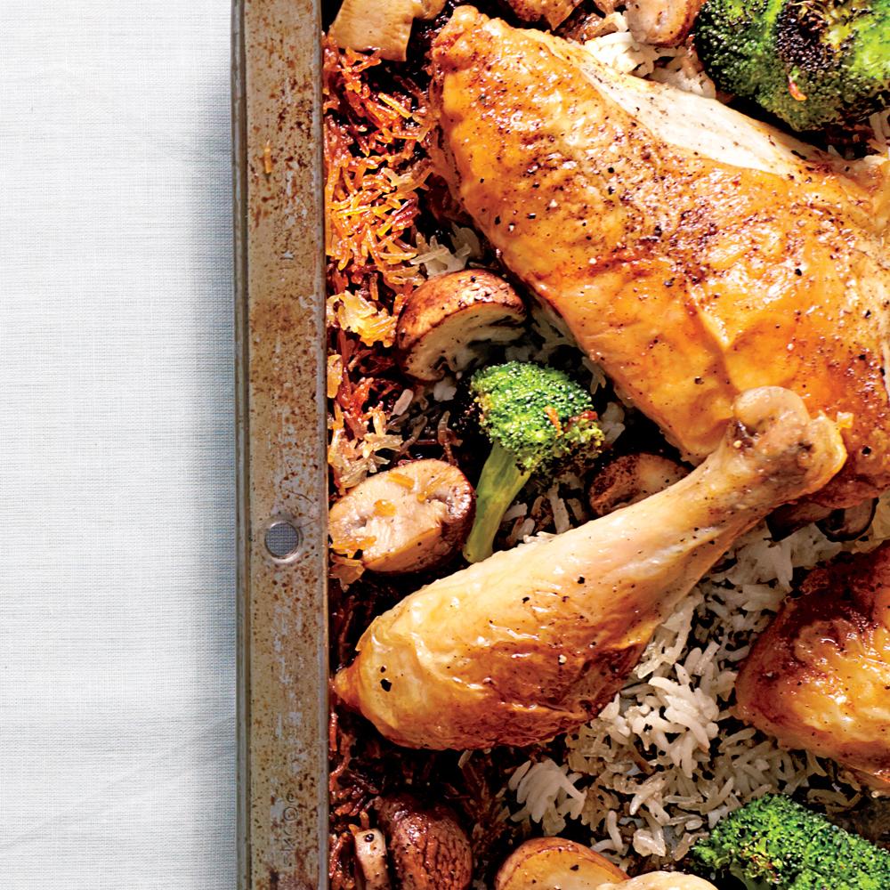 Simple Whole Chicken & Roasted Broccoli-Mushroom Rice Recipe ...