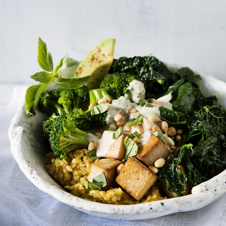 Imagine a classic Asian-style rice bowl, but with a risotto-like blend of millet and amaranth as the base. At Vital Root in Denver, chef-owner Justin Cucci tops the grains with loads of vegetables and tofu, then drizzles on a silky tahini sauce.Millet Amaranth Buddha Bowls