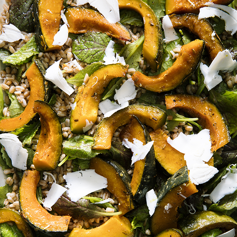 Roasted Kabocha Squash with Farro and Mustard Greens