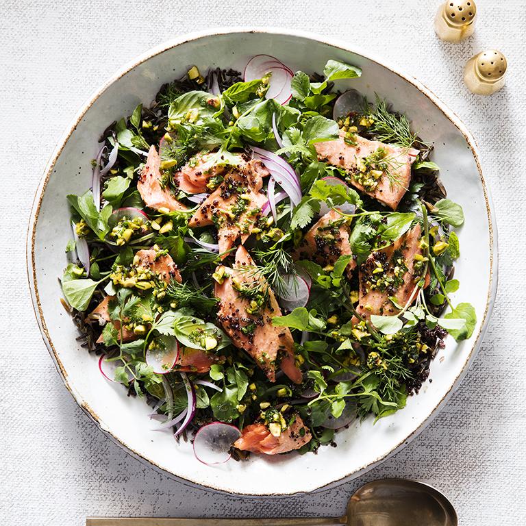 Salmon and Grains Salad with Pistachio Salsa Verde