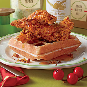 Bacon Waffles with Pecan Chicken Tenders