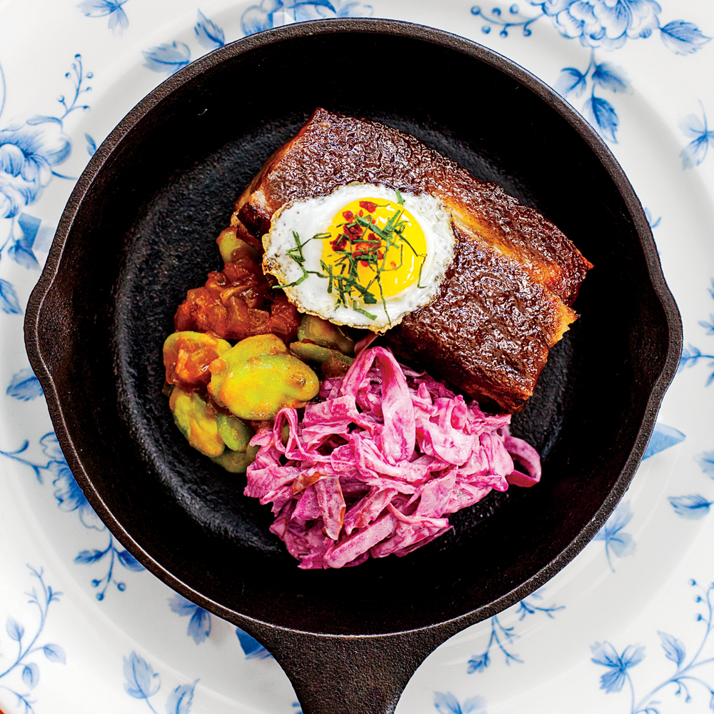 Jerk Pork Belly with Quail Egg and Stewed Fava Beans