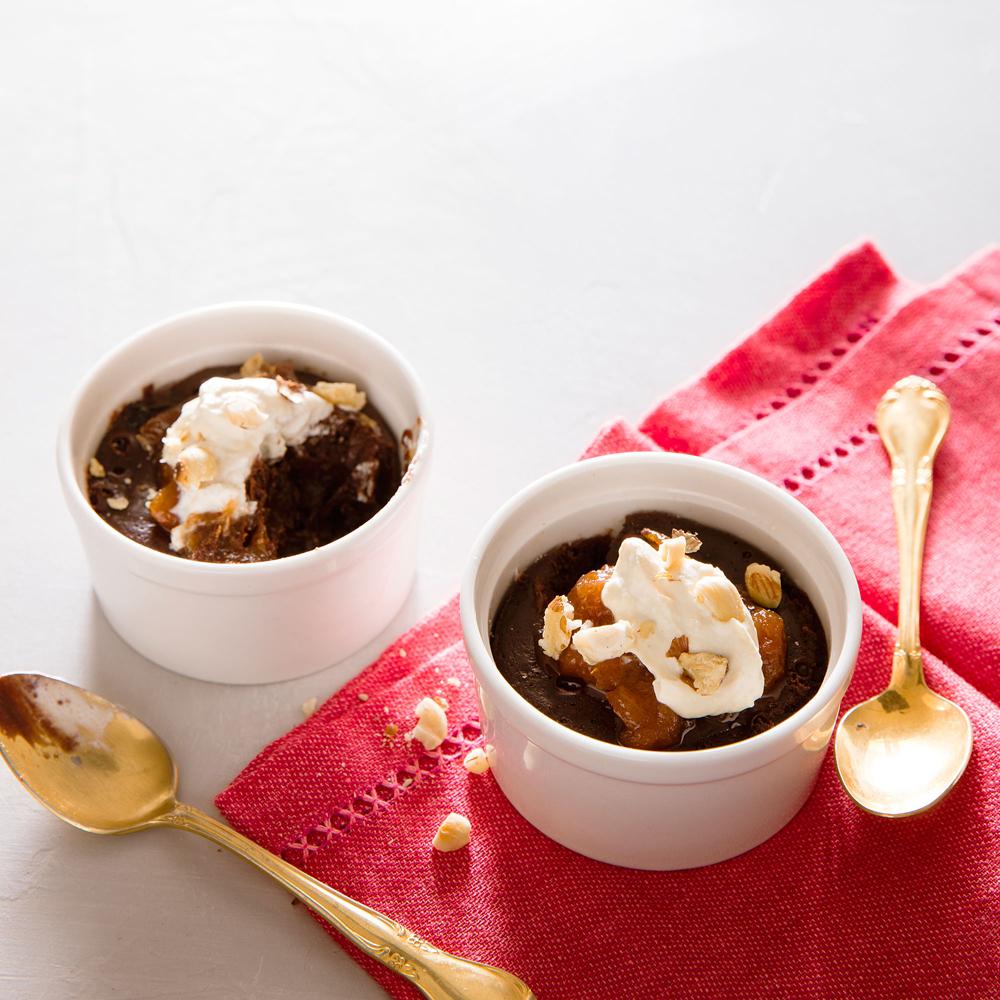 Fudge Cakes with Jasmine Tea Whipped Cream