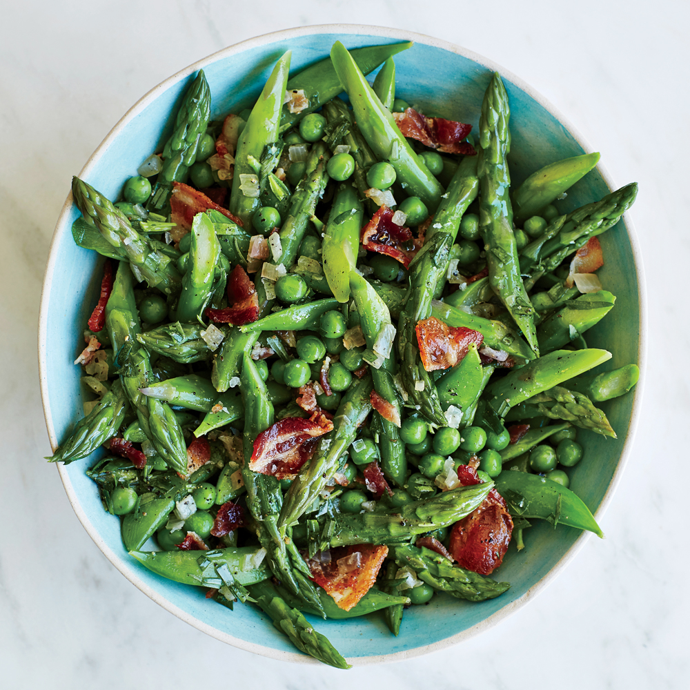 Asparagus & Peas With Warm Tarragon Vinaigrette Recipe