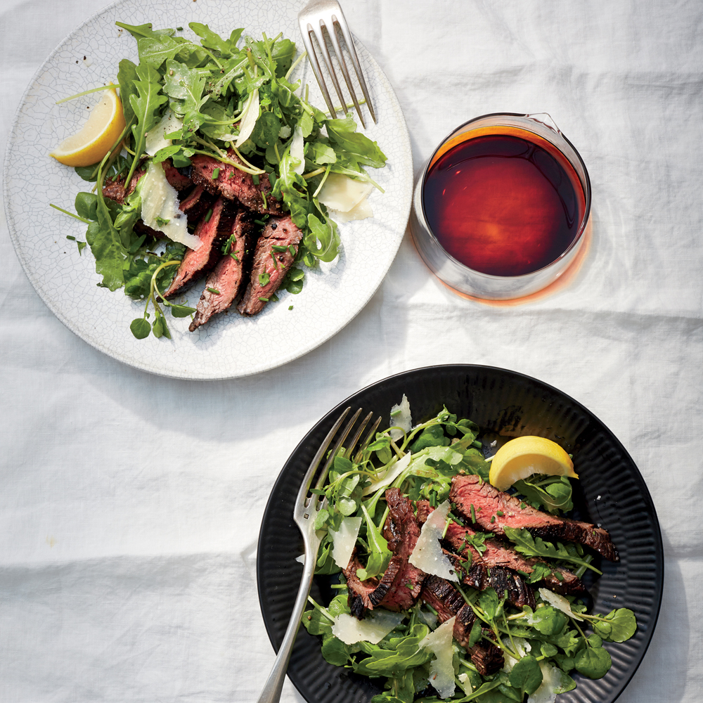 Balsamic Hanger Steak with Greens and Parmesan Recipe | MyRecipes