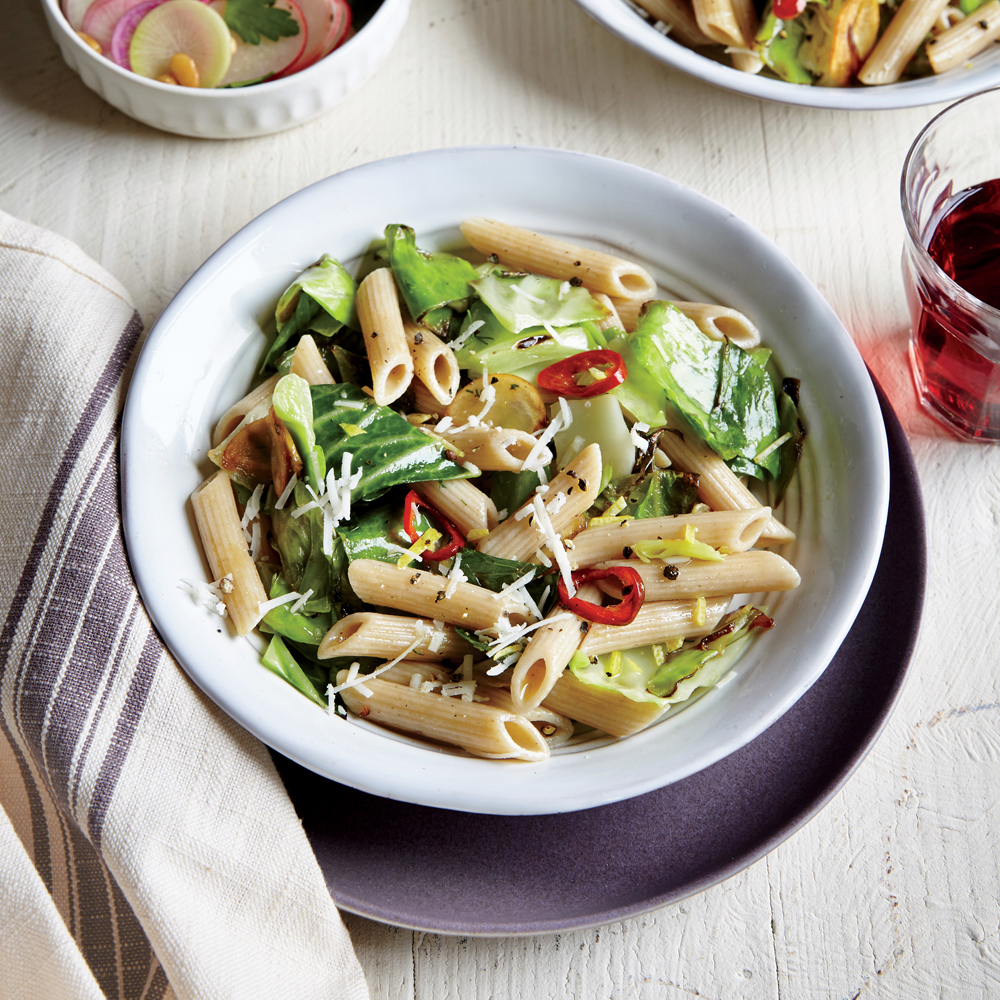 Caramelized Cabbage with Whole-Wheat Penne and Provolone