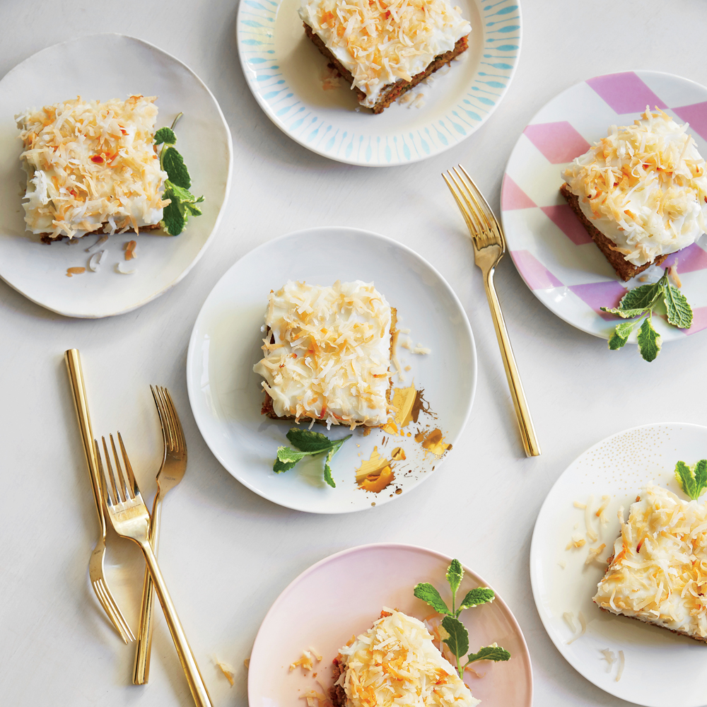 Carrot-Zucchini Cake with Coconut-Cream Cheese Frosting