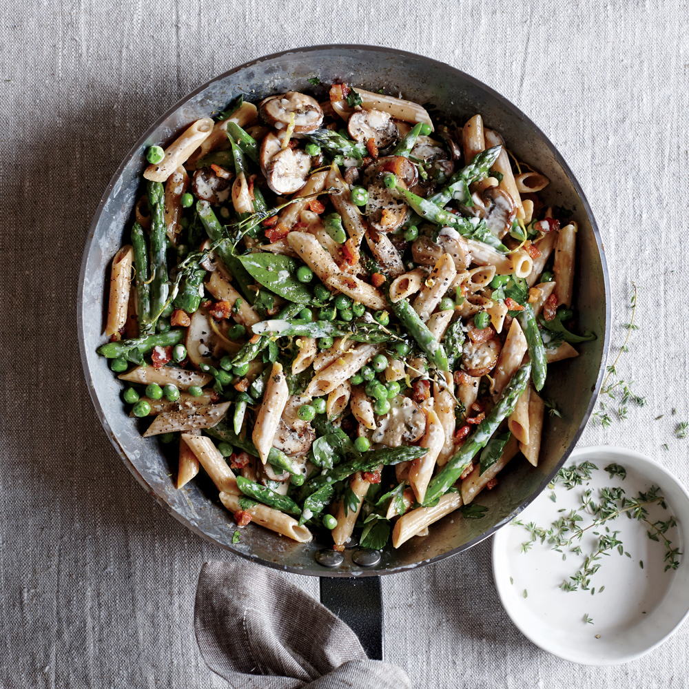 Creamy Asparagus and Pancetta Penne