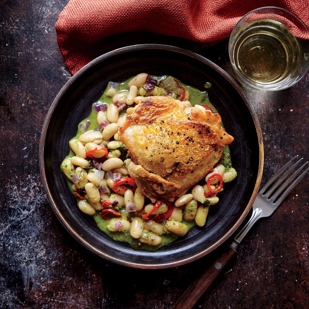 Crispy Chicken Thighs: Crispy Chicken Thighs With White Beans Recipe