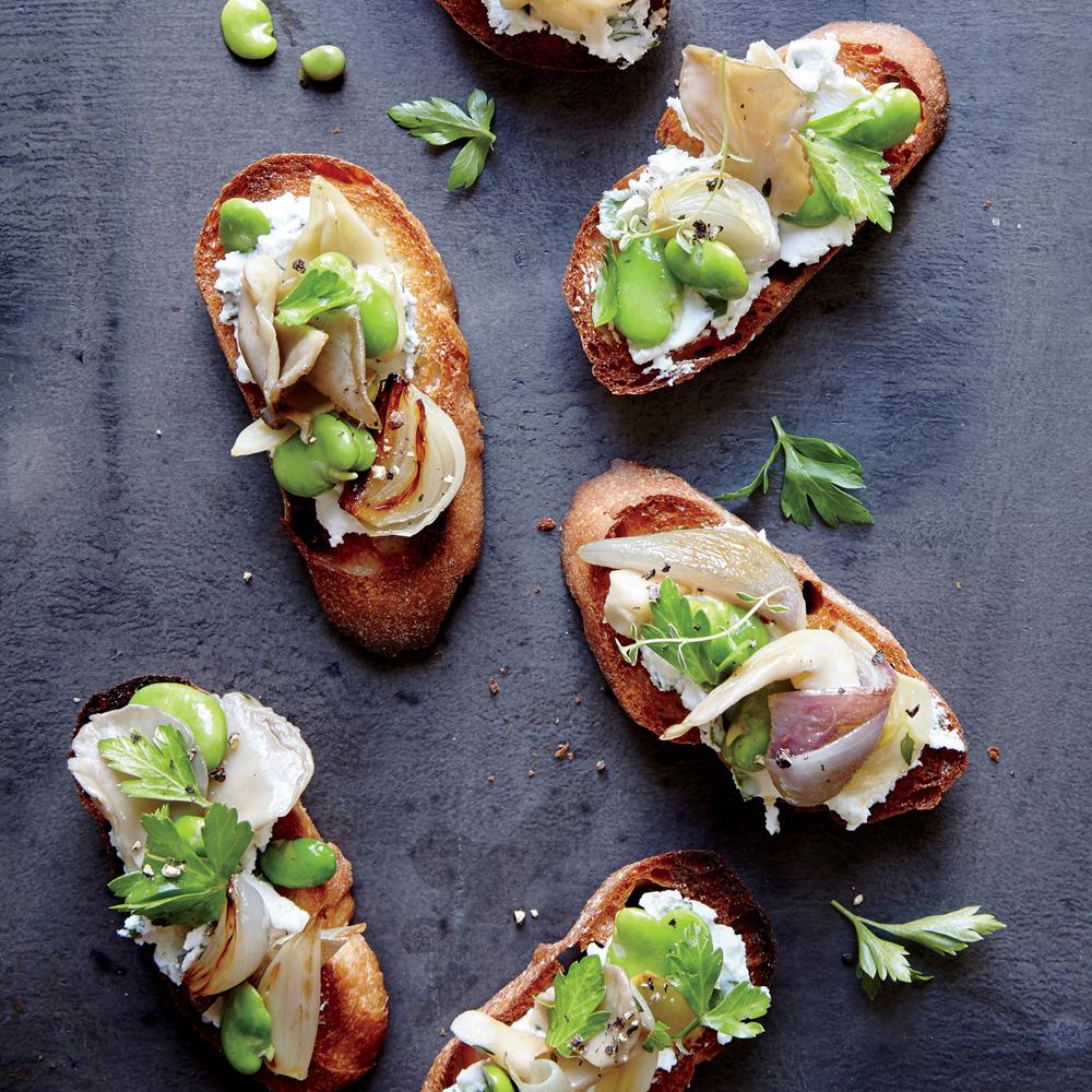 Fava Bean and Mushroom Crostini