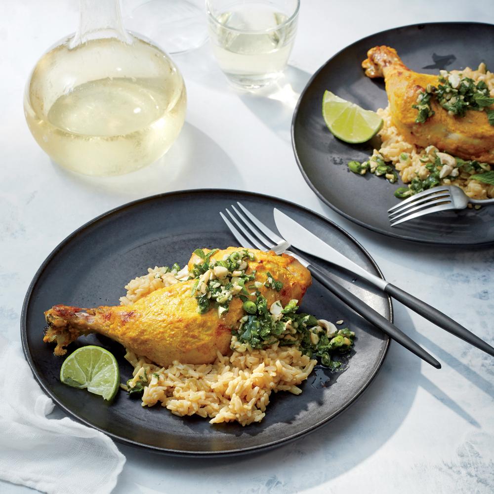 Golden Chicken with Cilantro-Cashew Pesto and Coconut Rice