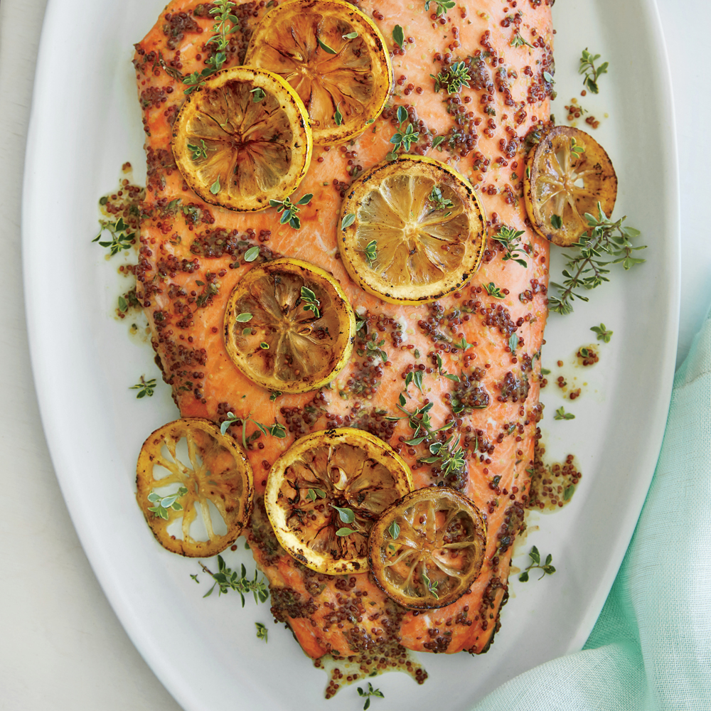 Roasted salmon with thyme honey mustard glaze recipe myrecipes ccuart Choice Image