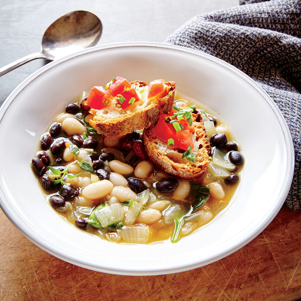 Two-Bean Soup with Tomato-Chive Crostini