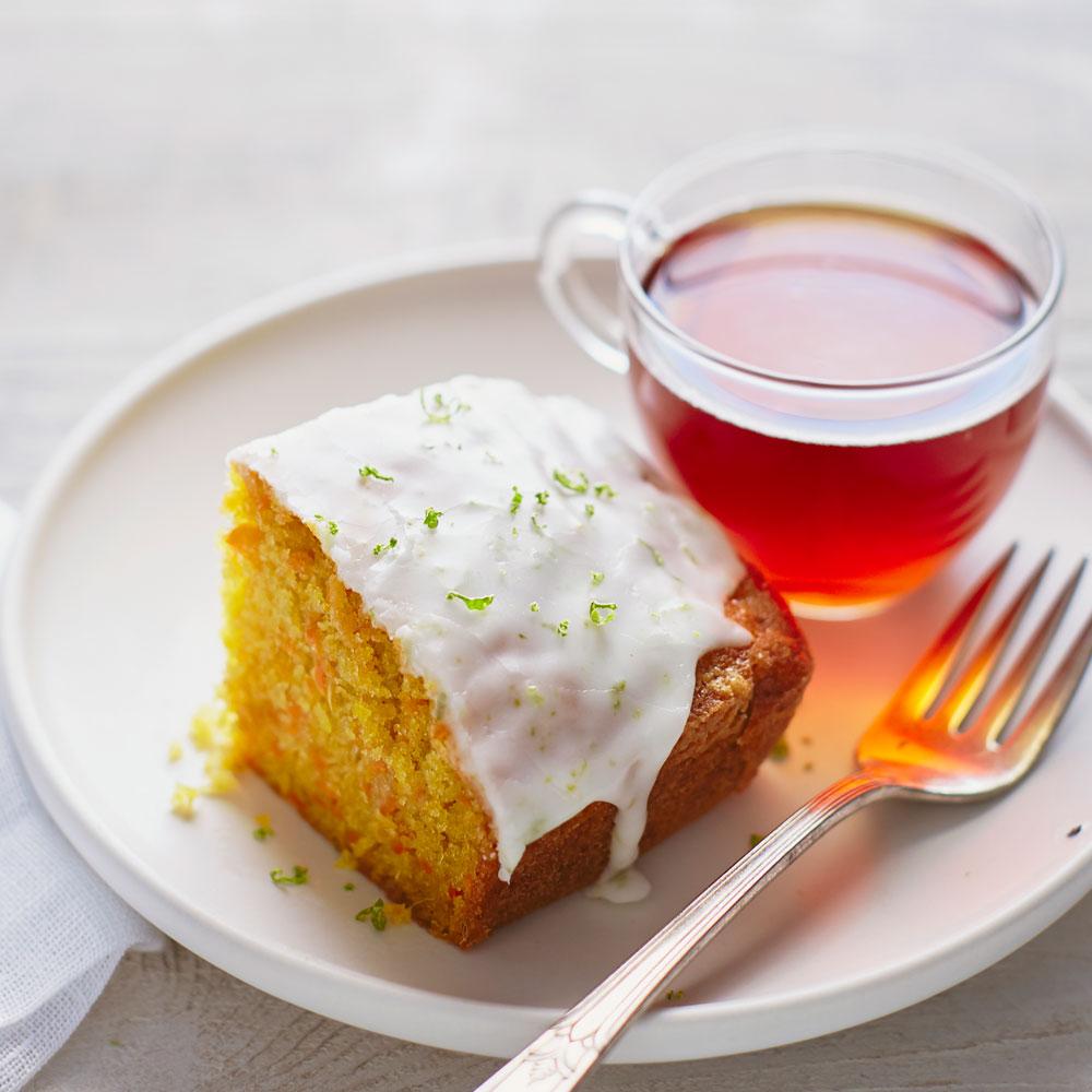 Carrot Ginger Tea Cake with Lime Glaze