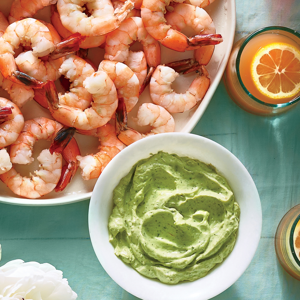 Chilled Shrimp with Avocado-Lime Cream