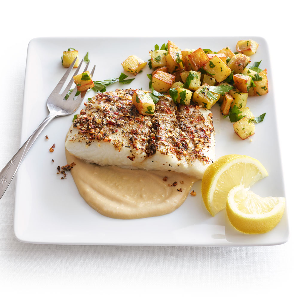 Roasted Halibut with Tahini Sauce