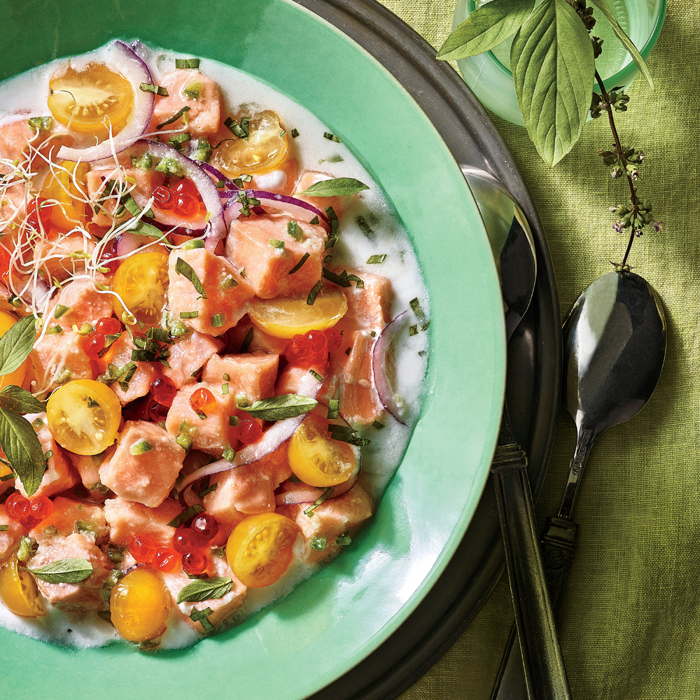 Salmon Ceviche with Coconut and Basil