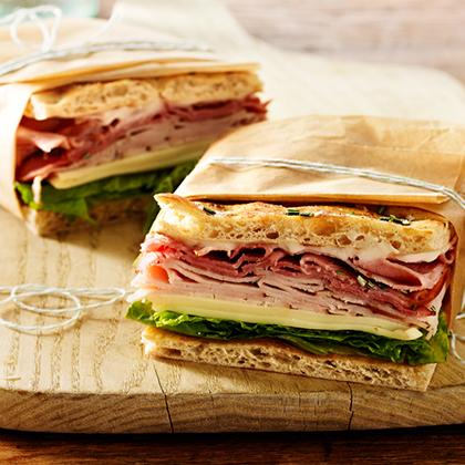 Garlic Mayo Turkey and Ham Sandwich