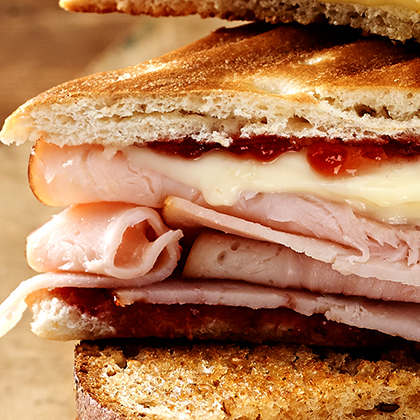 Turkey Brie and Strawberry Preserves Panini