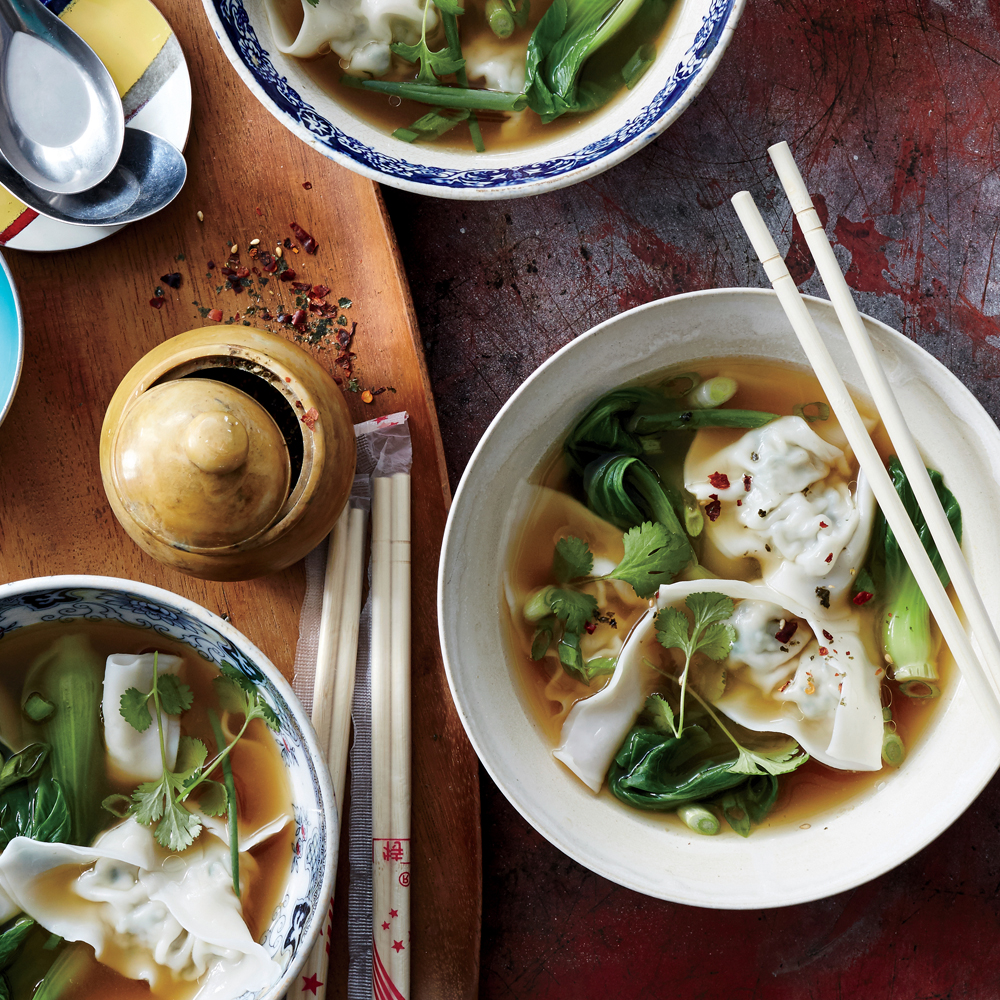 Chicken Watercress Wonton Soup