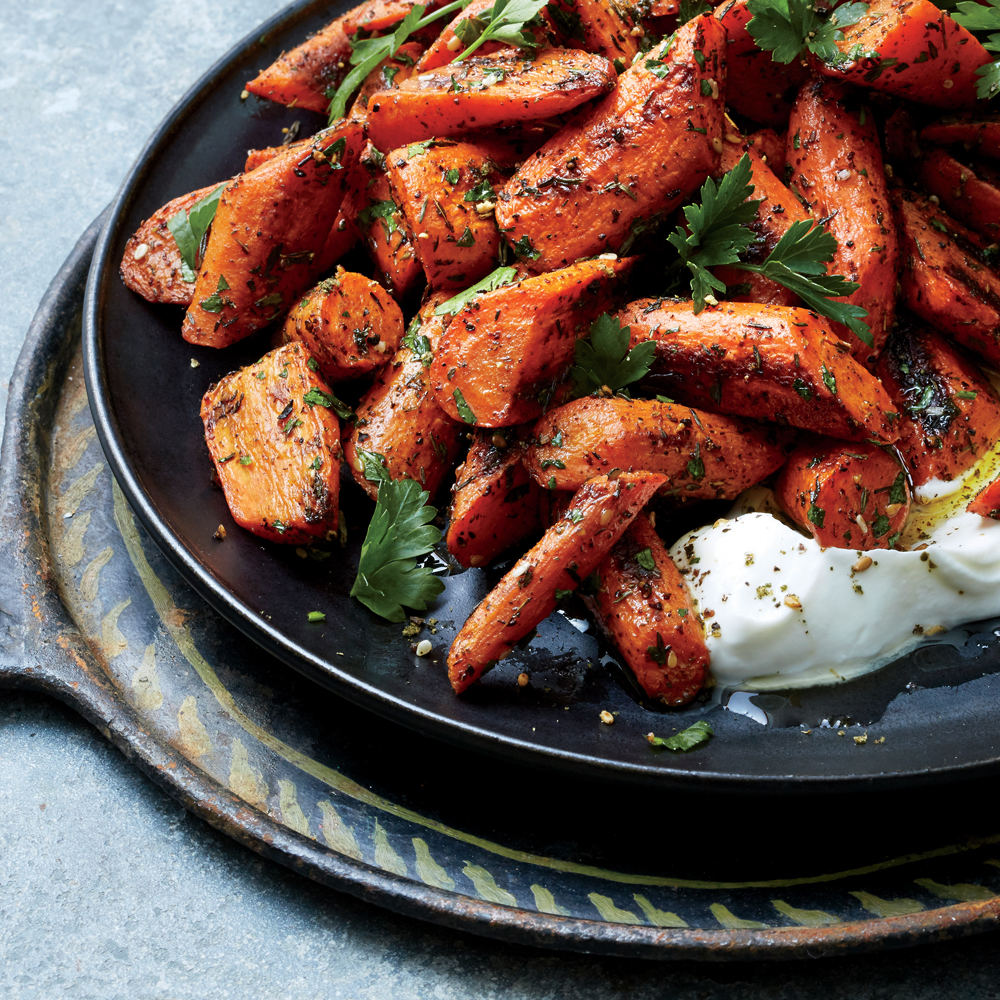 Za'atar-Roasted Carrots with Labne Recipe | MyRecipes