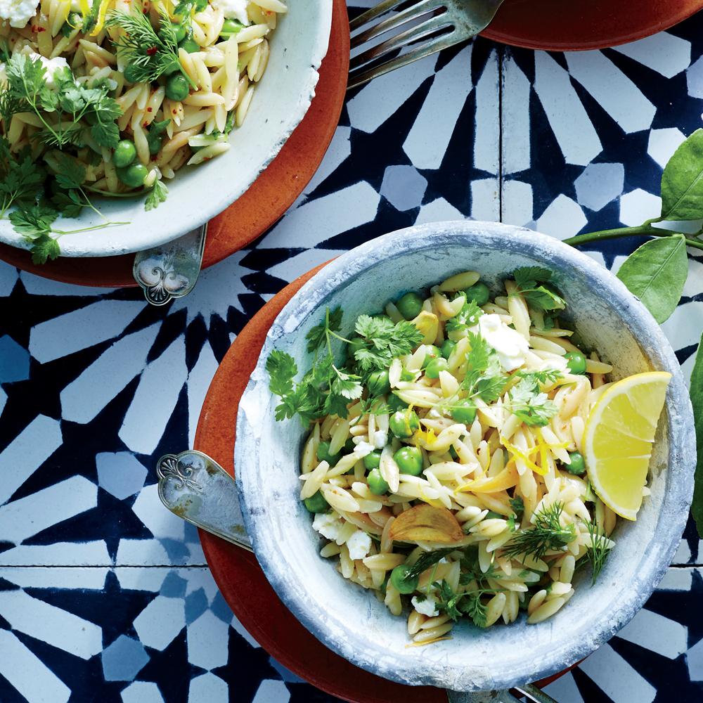 Kritharoto (Orzo Pasta) with Peas Lemon and Feta