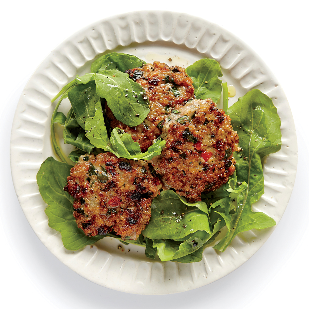 Roasted Red Pepper and Spinach Chicken Sausage Patties