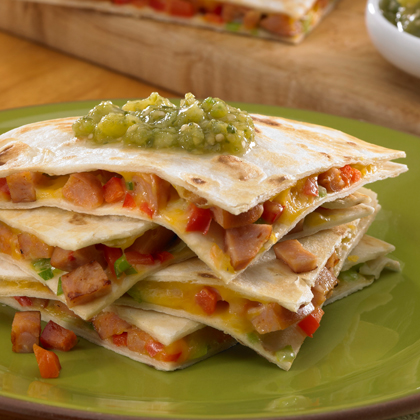 ... Sausage quesadillas with chipped red pepper, green onions and shredded