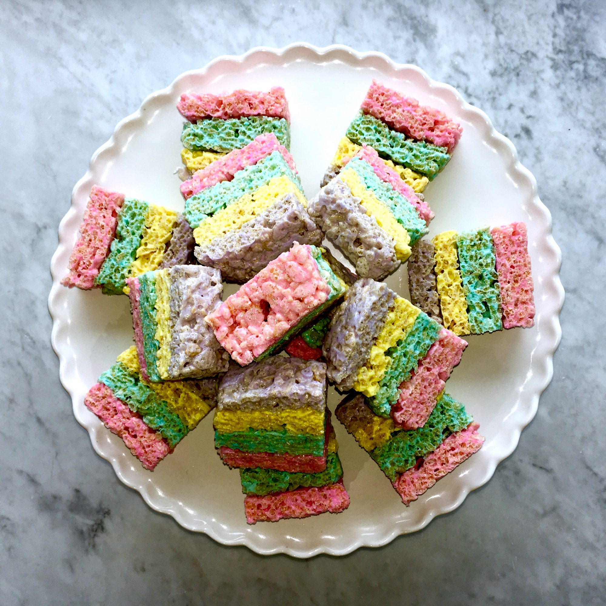 <p>Layered Peeps Crispy Treats</p>