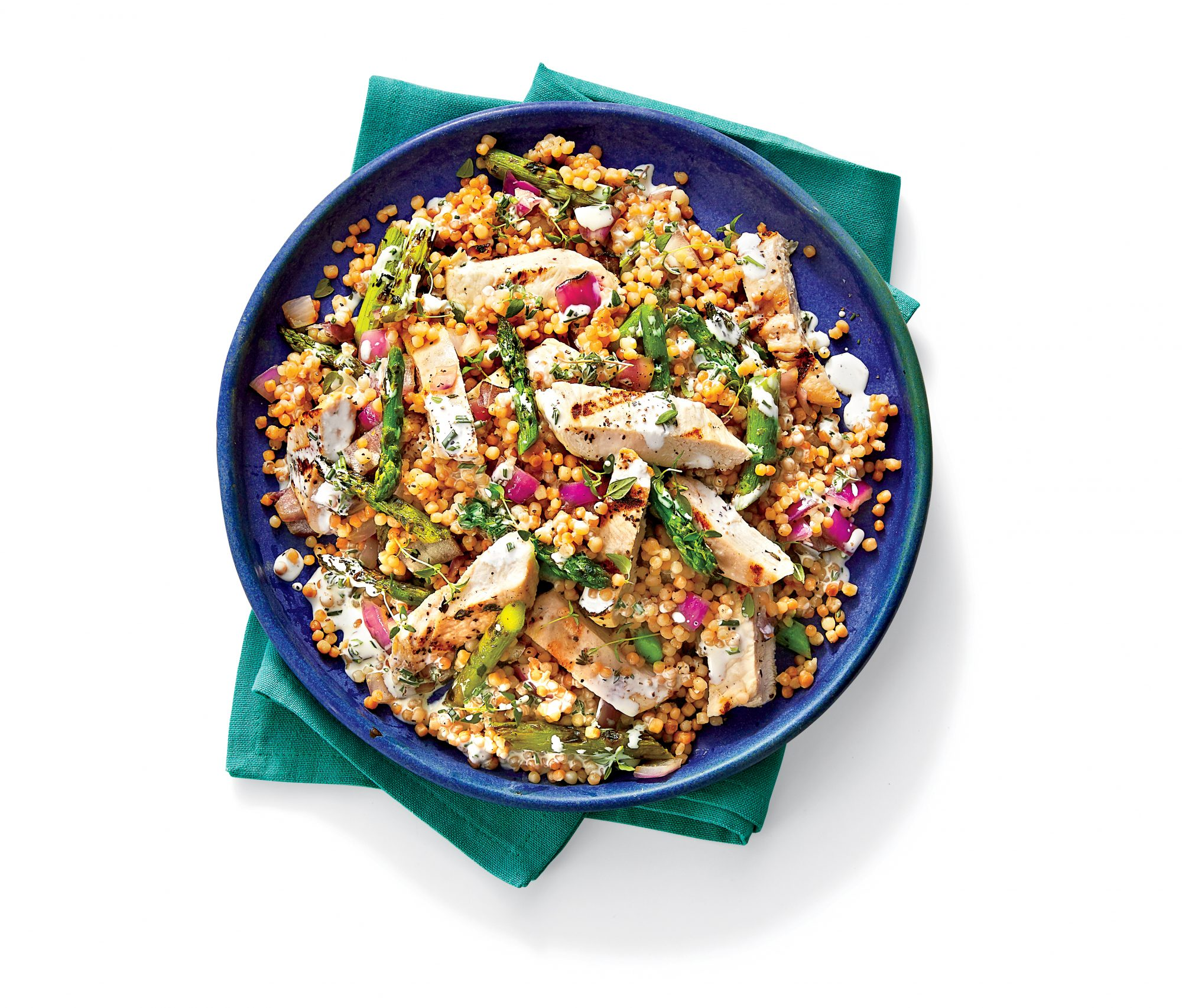 Grilled Chicken And Toasted Couscous Salad With Lemon Buttermilk Dressing