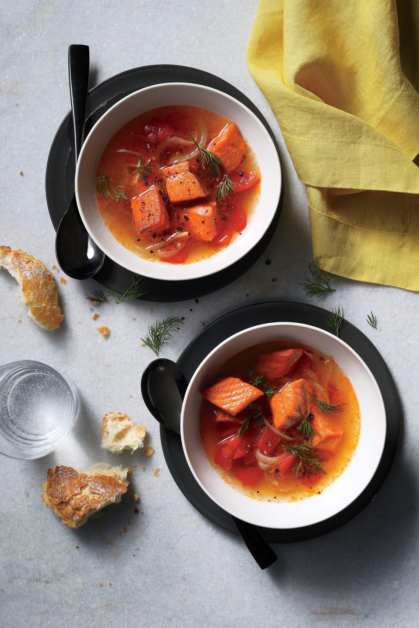 Salmon Soup With Tomato, Dill, And Garlic Recipe Myrecipes Salmon Head Miso
