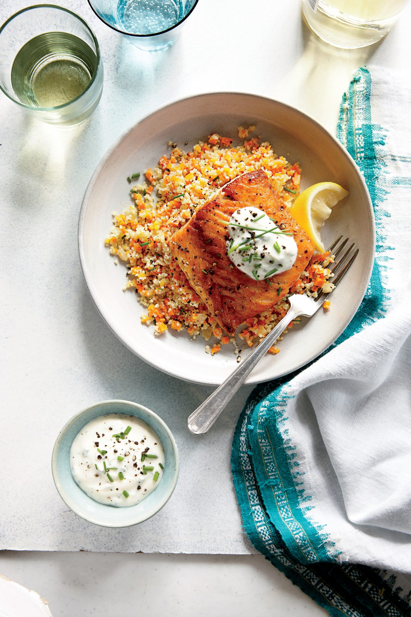 Lemony Roasted Salmon with White Wine Couscous