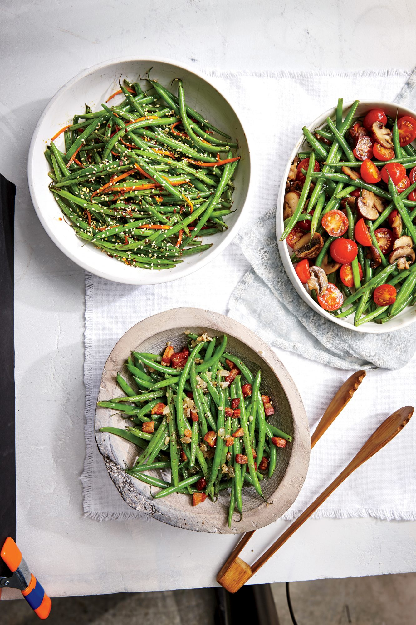 Haricots Verts with Cherry Tomatoes and Mushrooms