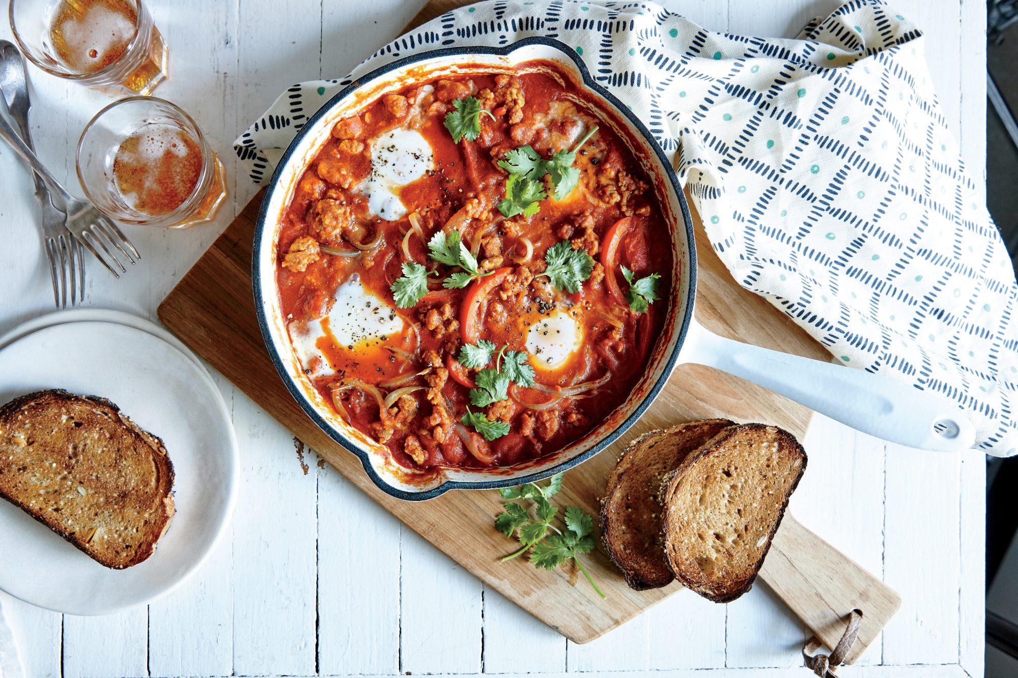 Saucy Chorizo and Egg Skillet